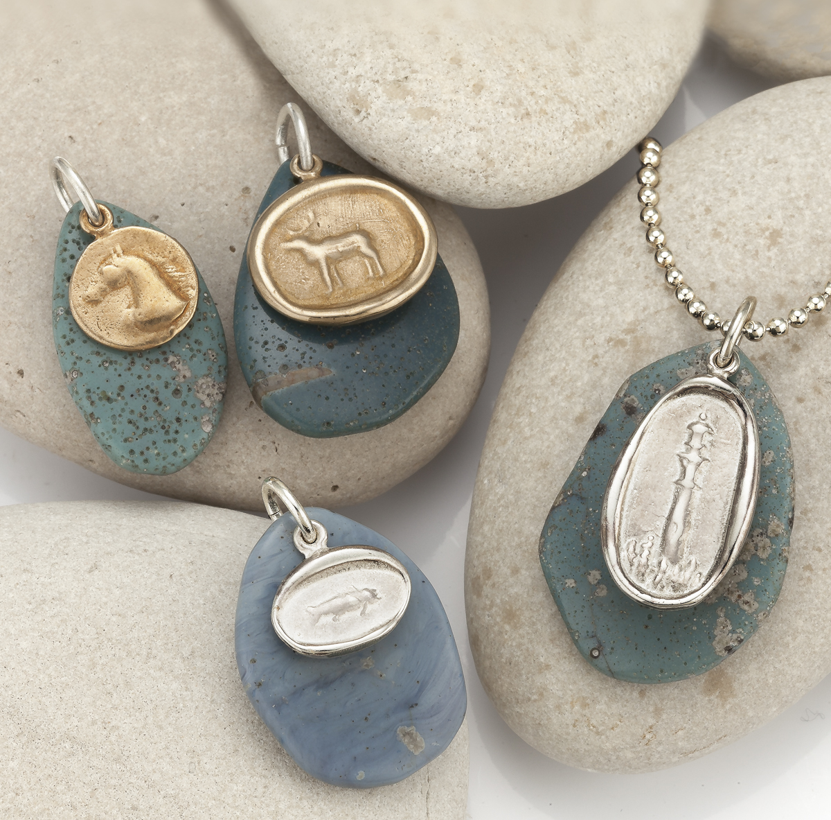leland blue and pendants up close