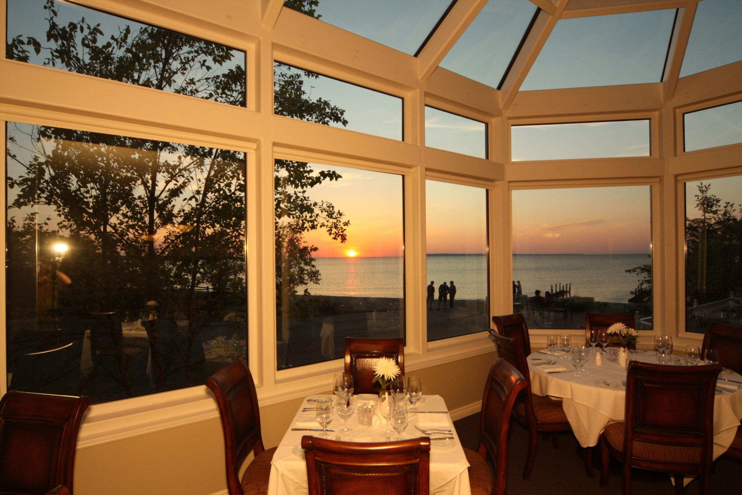 sunset view of Lake MI from Blu's dining room