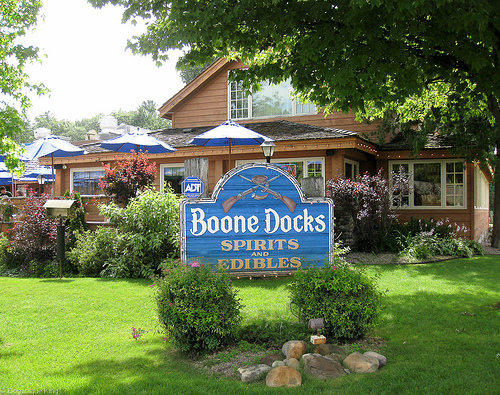 Boone Docks restaurant sign from yard