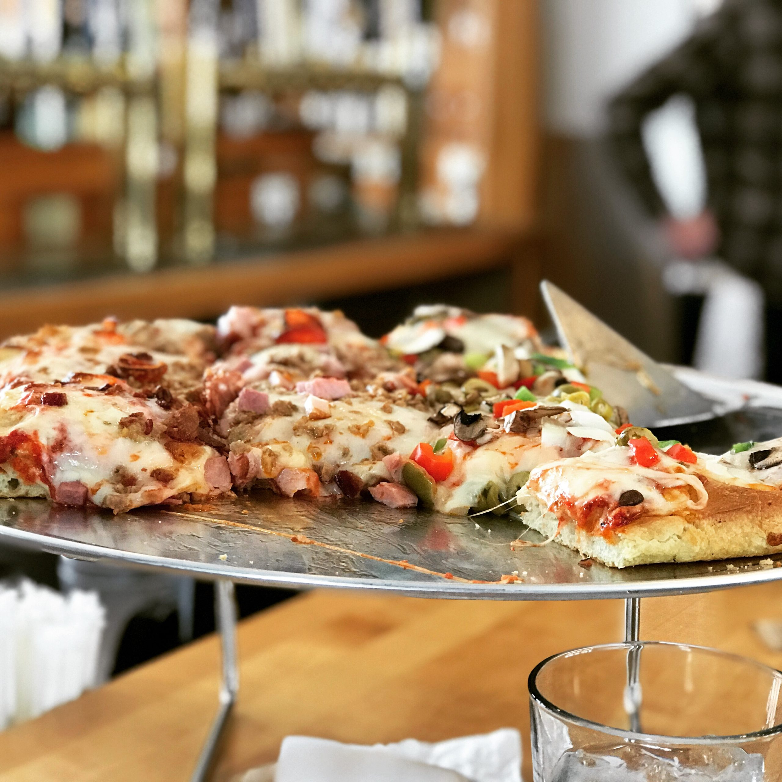 pizza slices up close at Broomstack Kitchen