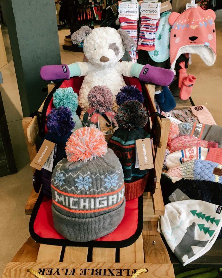 michigan winter hats displayed at Coastal