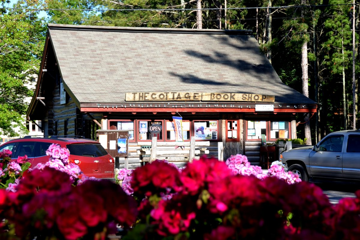 flowers in front of Cottage Book Shop
