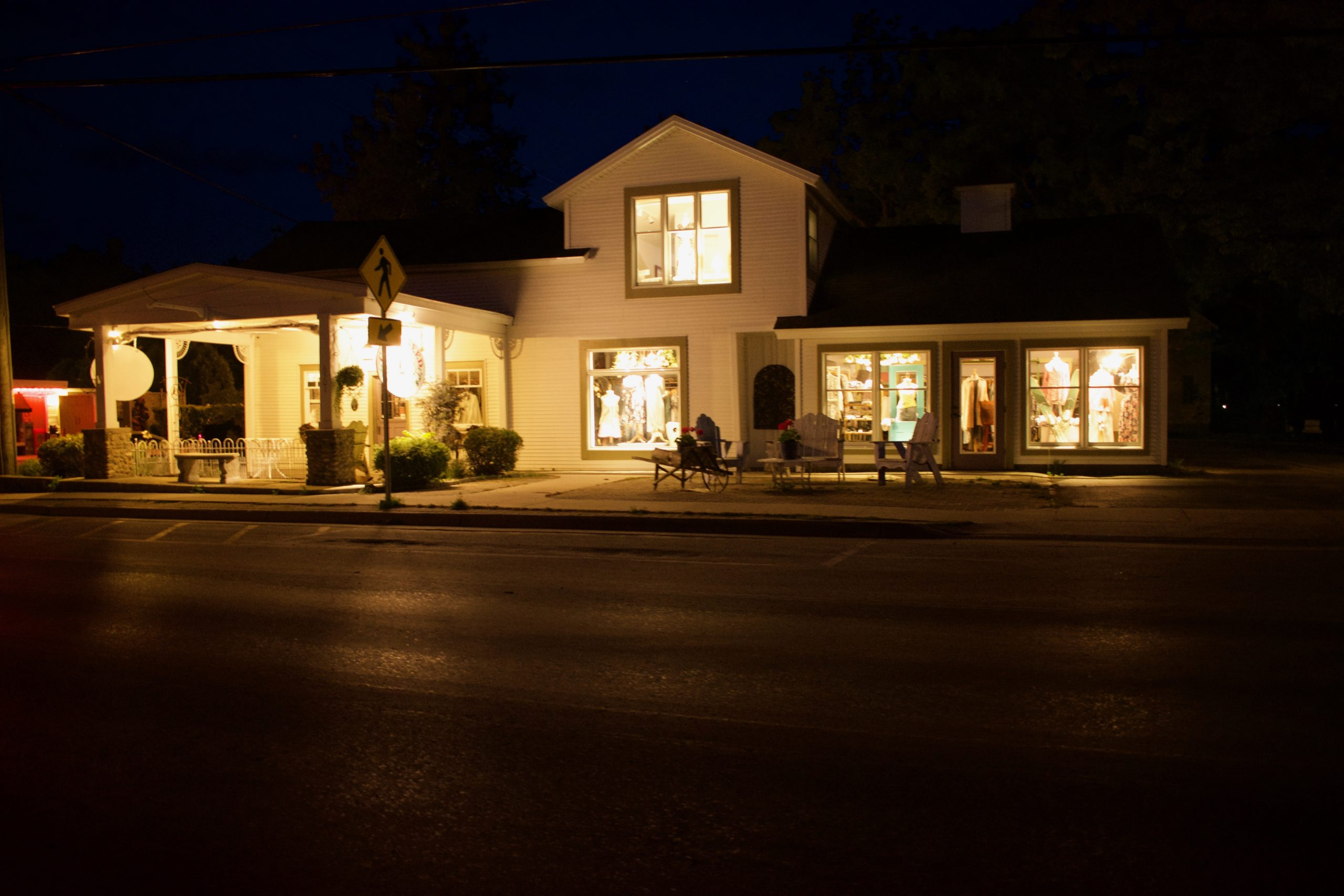 photo at night from street of Cottonseed Apparel