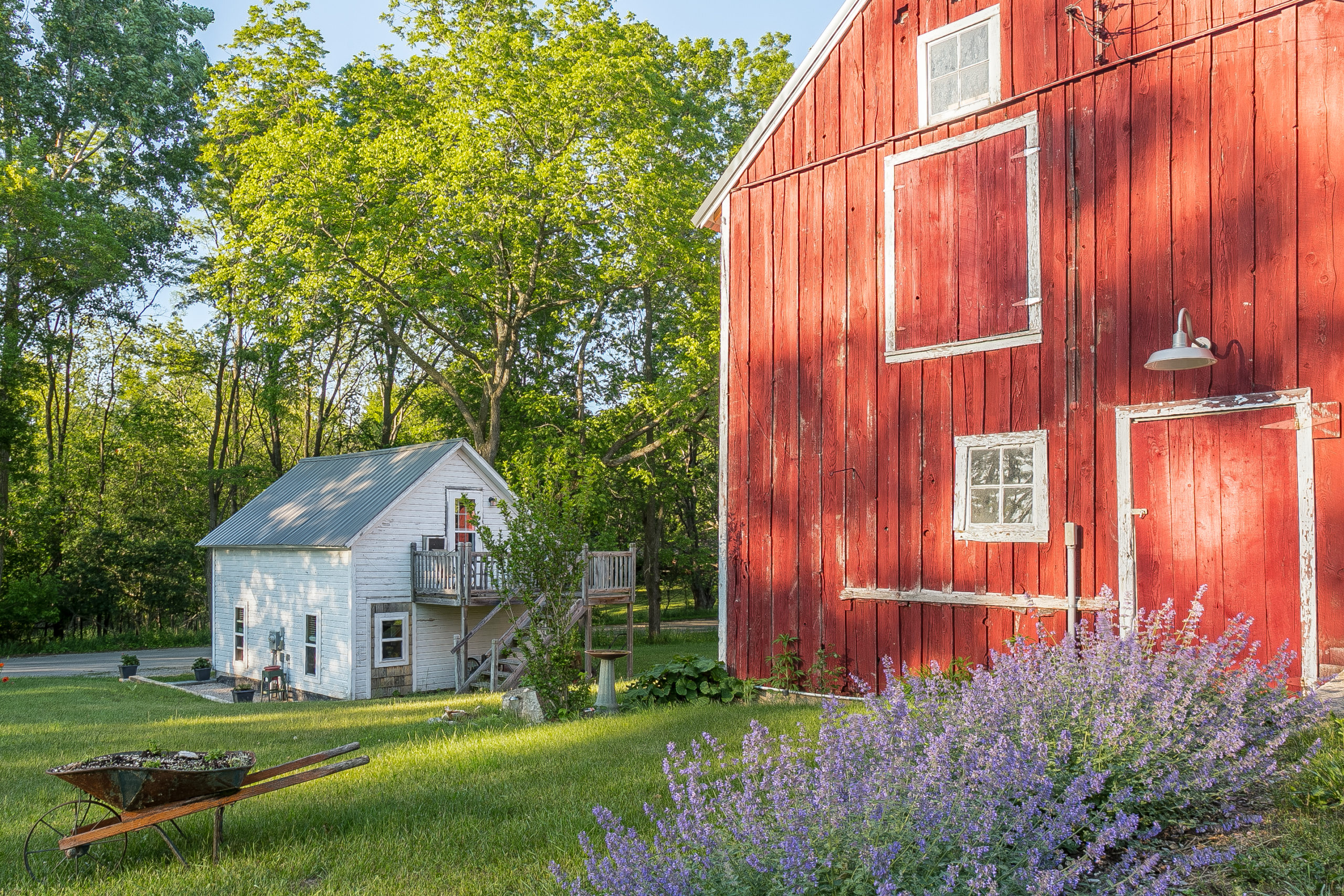 red barn and cabin at Cottonwood Inn