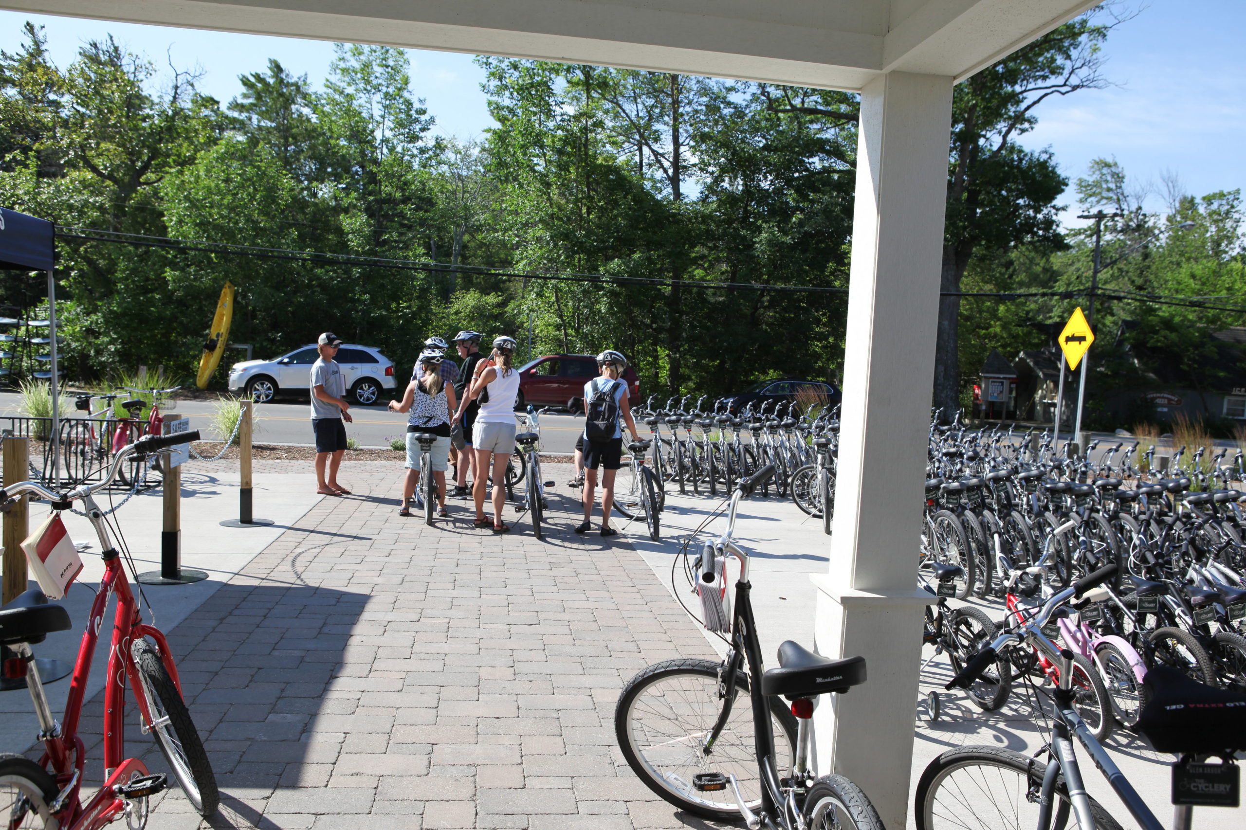 view of bikers out front of the Cyclery