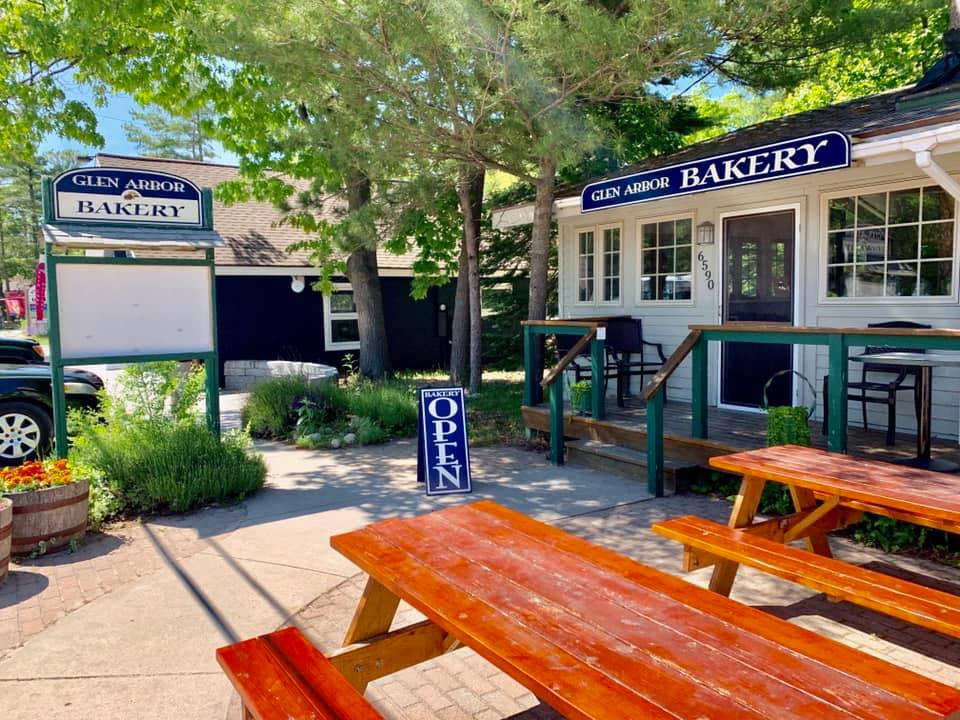 Glen Arbor Bakery storefront and picnic bench