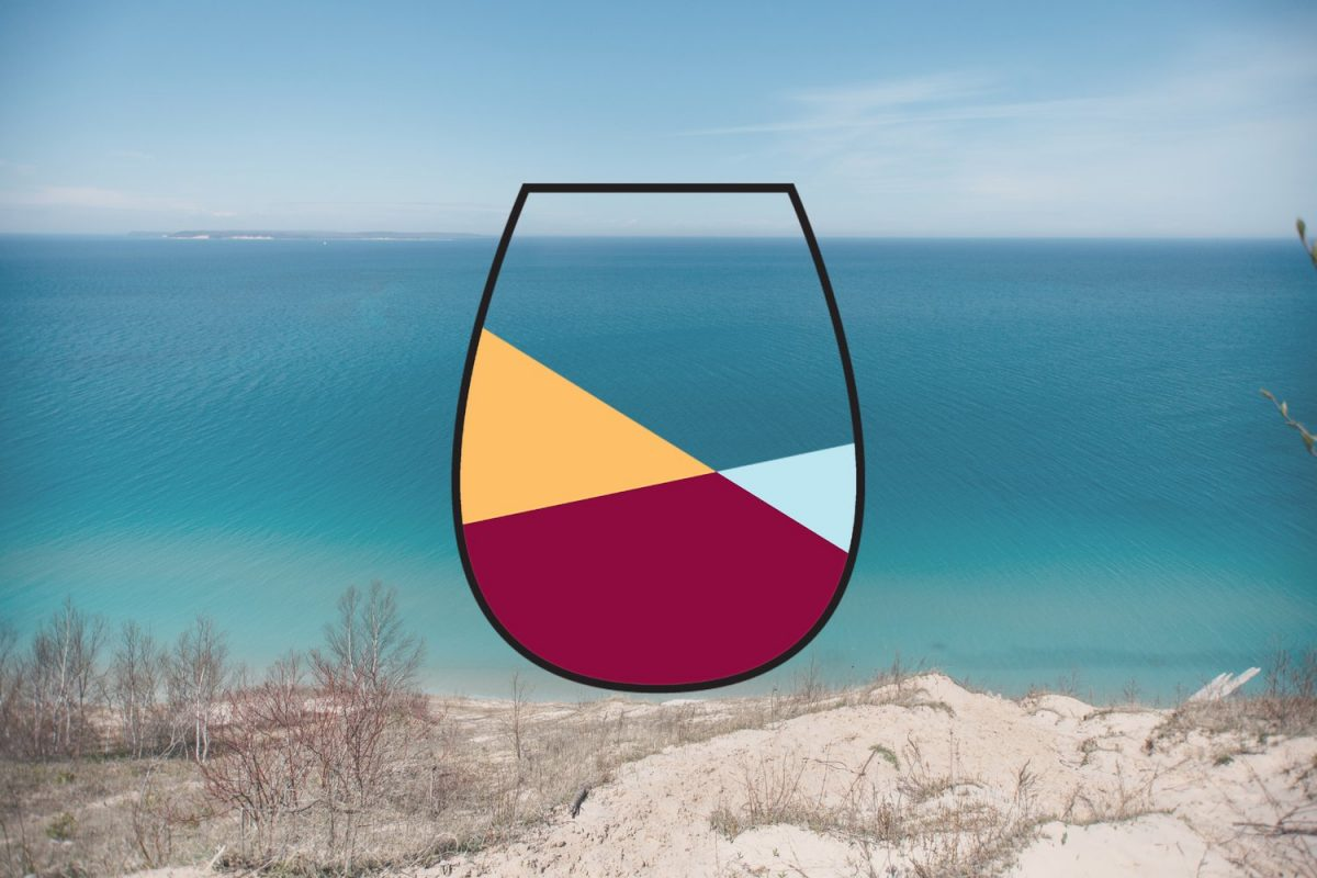photo of Glen Arbor Village Wine Trail logo superimposed on beach photo
