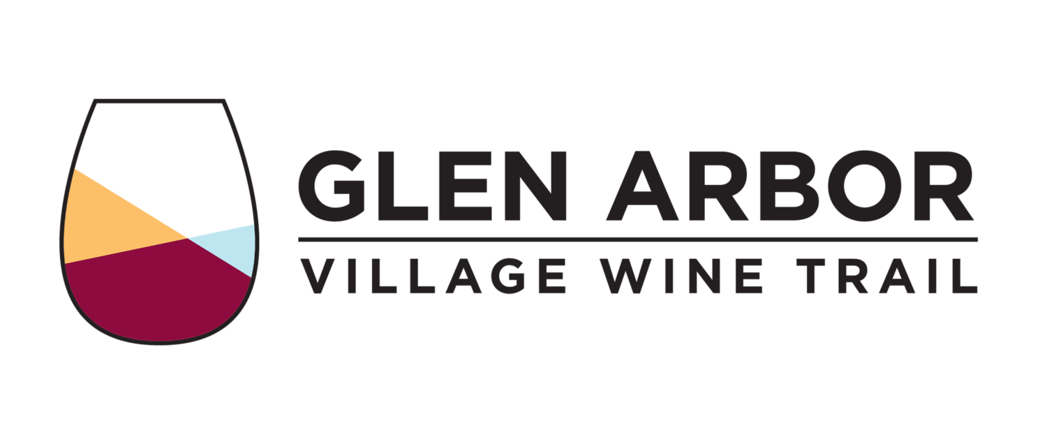 Glen Arbor Village Wine Trail logo with black and white checkered backgorund