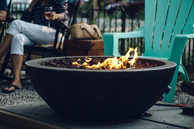 fire pit outside patio at Glen Arbor Wines
