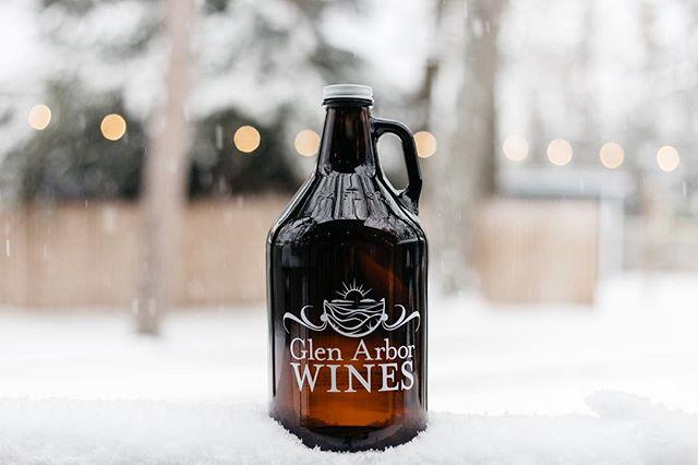 glen arbor wines growler sitting in snow