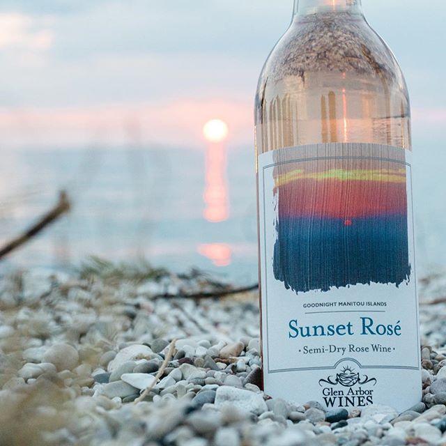 Glen Arbor Wines sunset rose wine bottle on beach