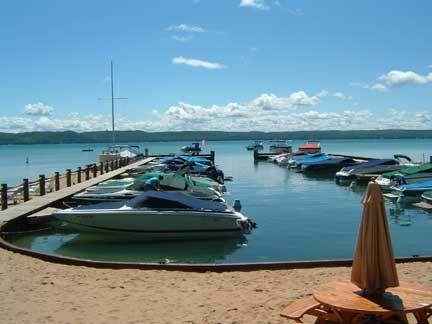 boats at dock and slips at Glen Craft Marina on Glen Lake