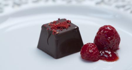 raspberries and chocolate up close
