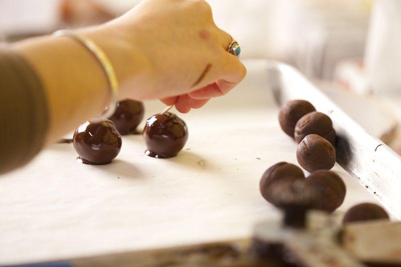 making chocolates at Grocers Daughter