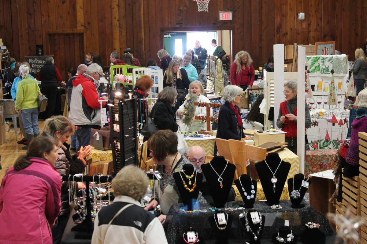 shoppers in the town hall during the Holiday Market