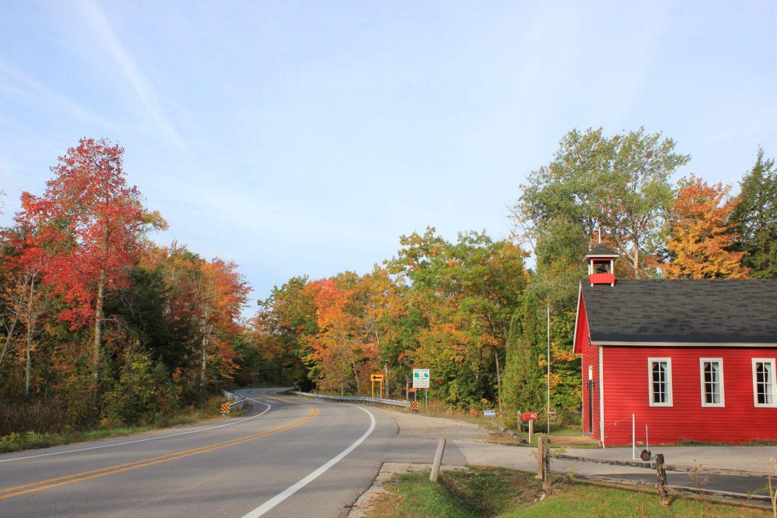 red school house on m22 fall color tour, Cedar, Michigan