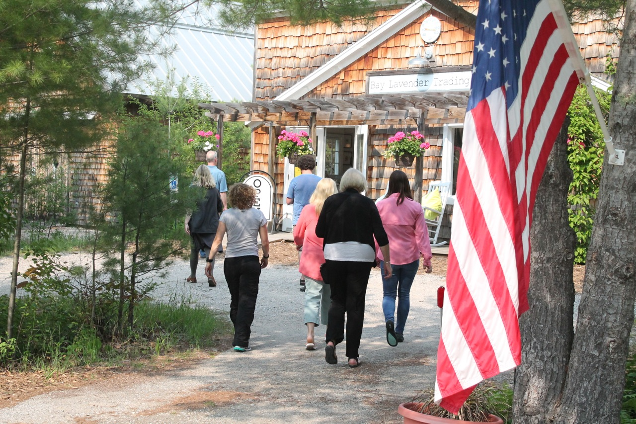 people shopping in the summer in glen arbor