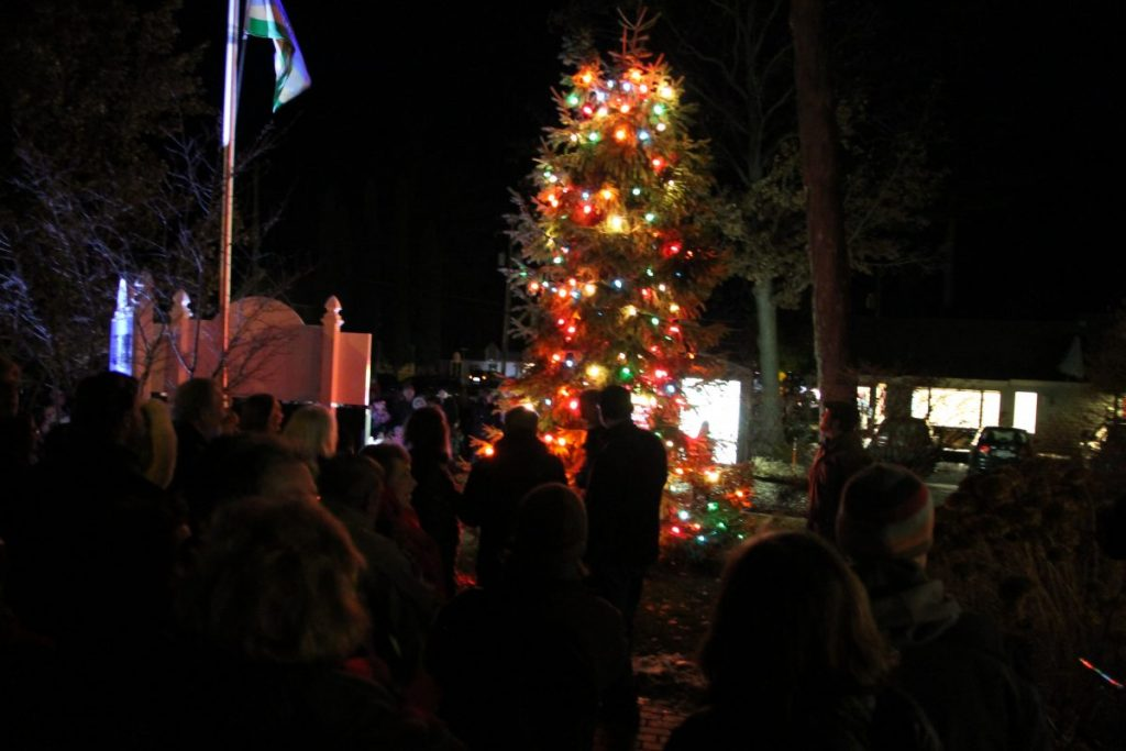 tree lighting & caroling in front of glen arbor township hall