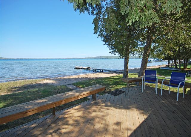 Big Glen Lake frontage from a cottage deck rented through LVR properties