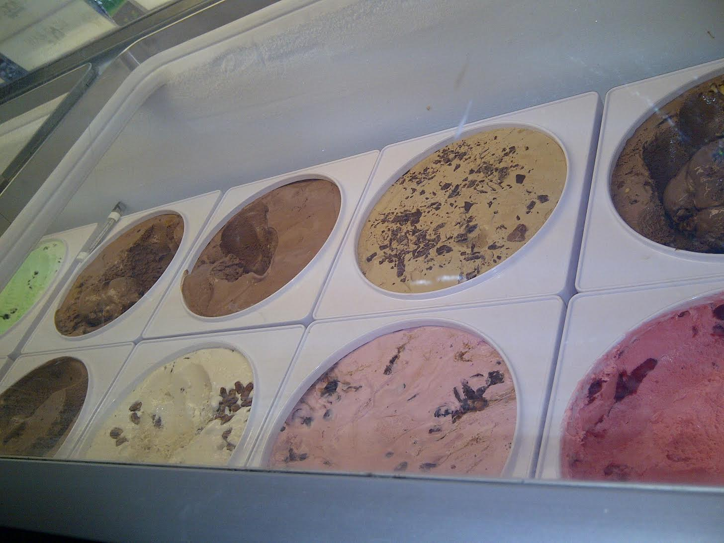 ice cream in cooler at Laker Shakes