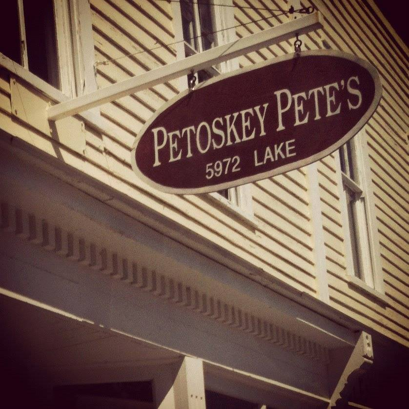 exterior store sign at Petoskey Pete's