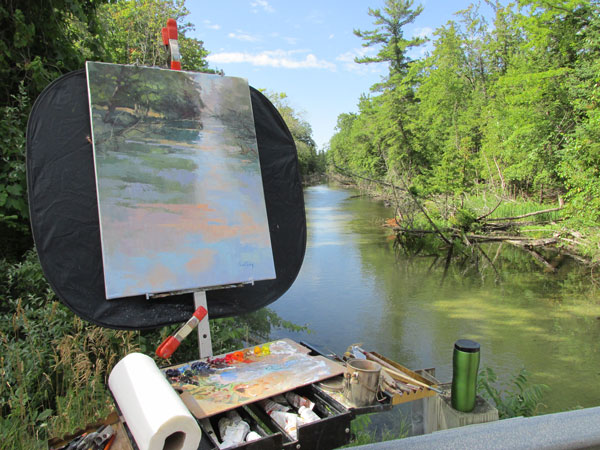 plein air painter easel overlooking crystal river