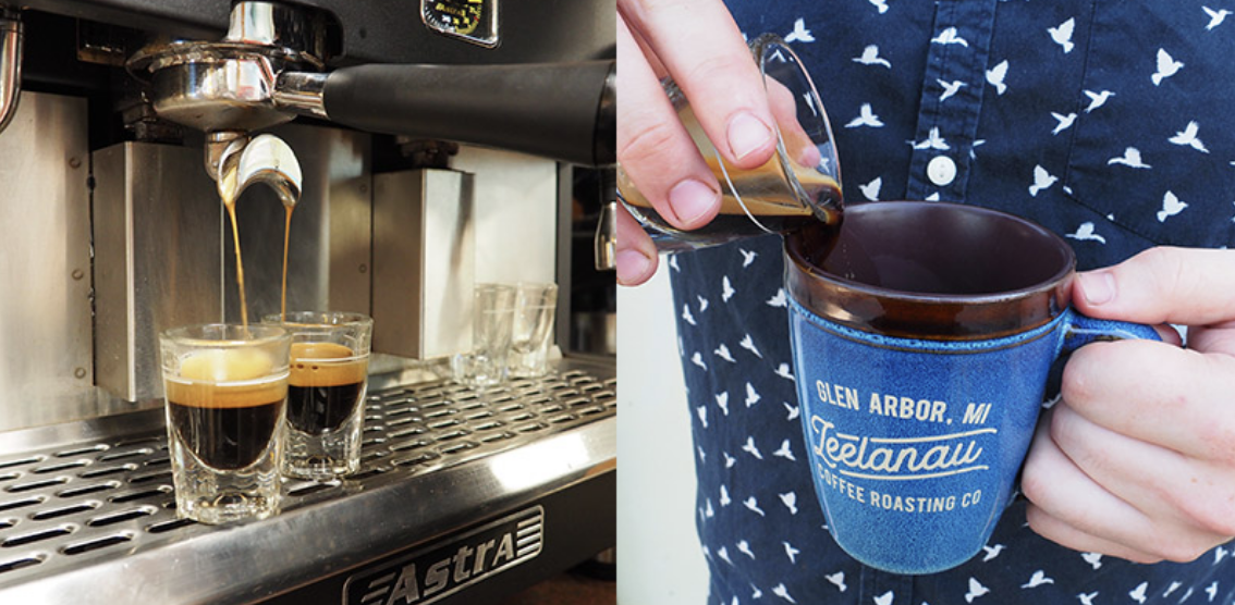 making coffee at leelanau roasters