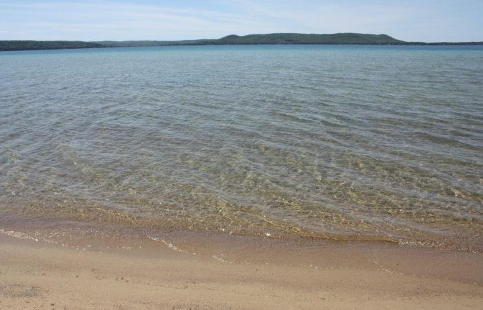 Glen Lake sandy beach from Sunset Shore