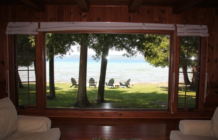 lake view from inside living room at sunset shores