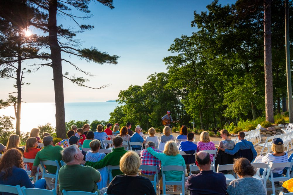 live concert with a view of Lake MI from The Homestead