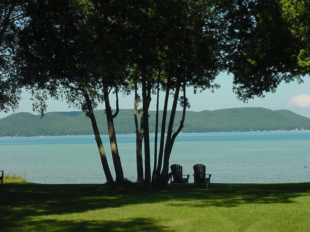chairs on lawn with view of Lake