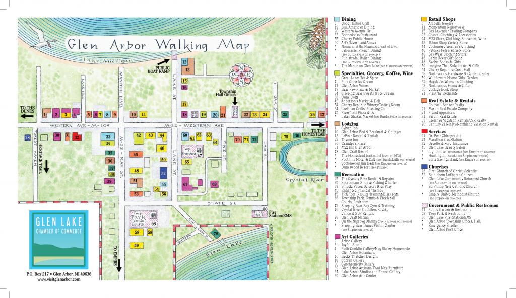 Graphic of the Glen Arbor Walking Map
