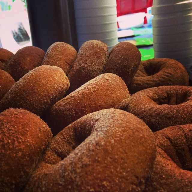 close up of sugar donuts at andersons