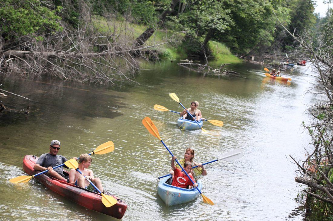 kayakers paddling the crystal river