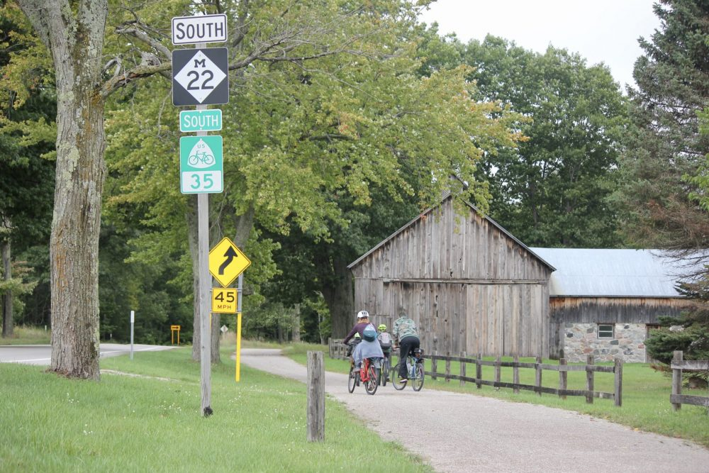 family biking heritage trail along m-22