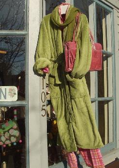 pj's hanging on storefront door