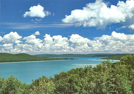 Bright blue summer view from the Pierce Stocking Drive over the Glen Lakes and Alligator Hill