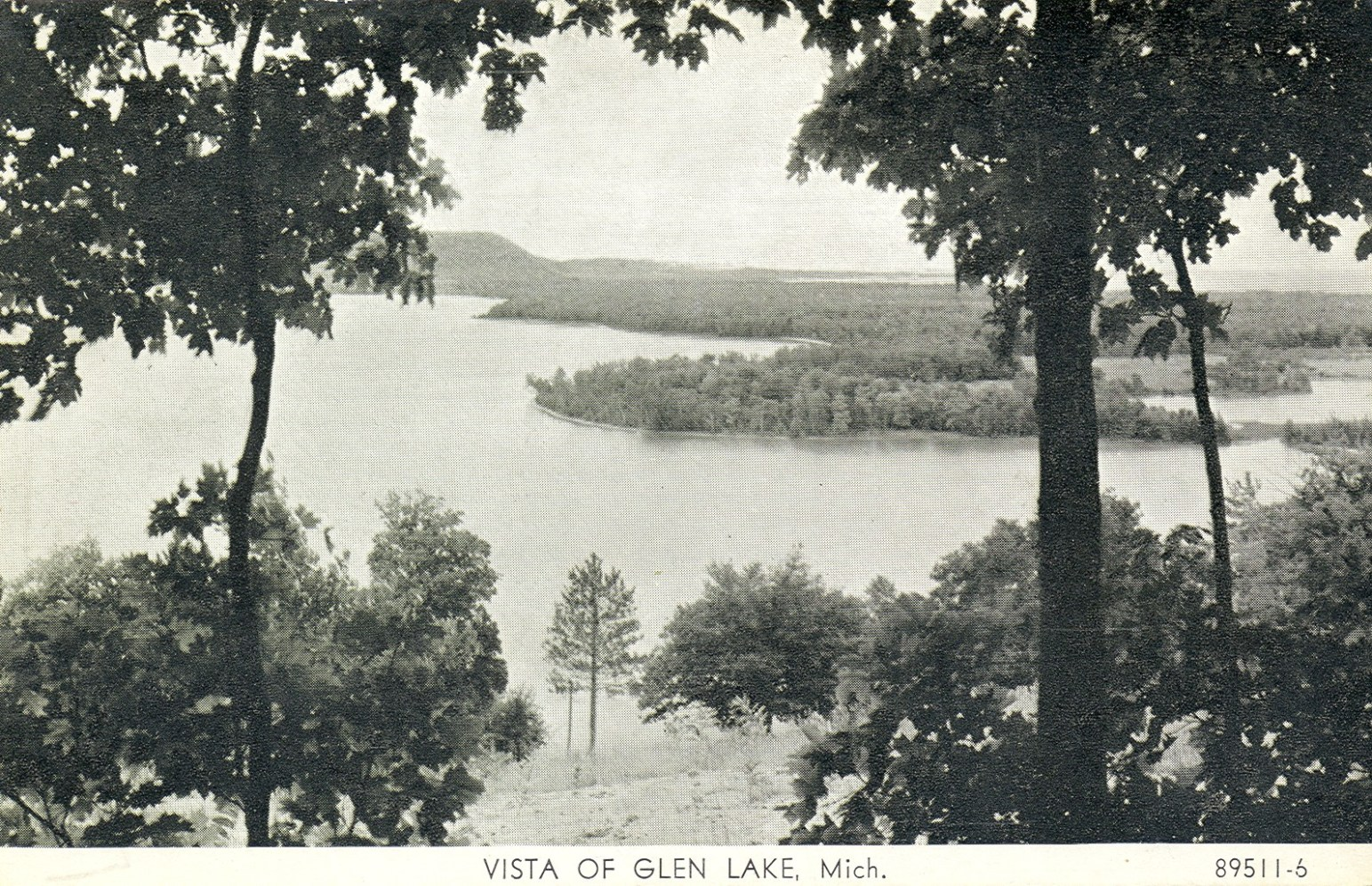 historic B&W view high over Lake Michigan at the Sleeping Bear Dunes National Lakeshore