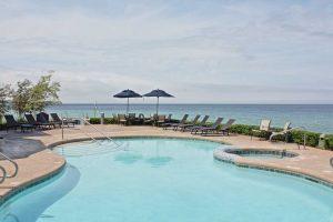 view of pool overlooking lake michigan
