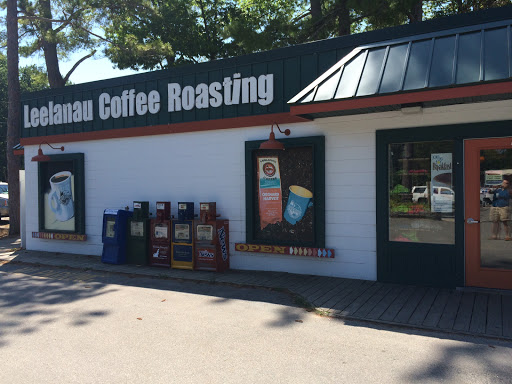 cafe storefront of leelanau coffee roasting