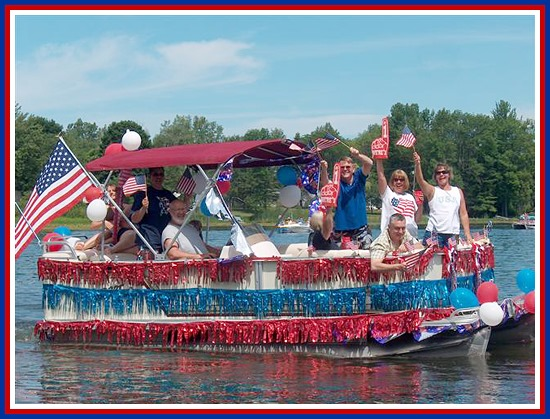 boat decorated for the 4th of July on Glen Lake