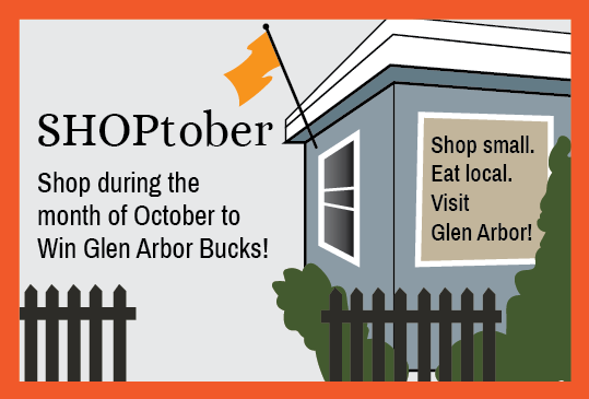 shop small eat local; SHOPtober event graphic for Glen Arbor