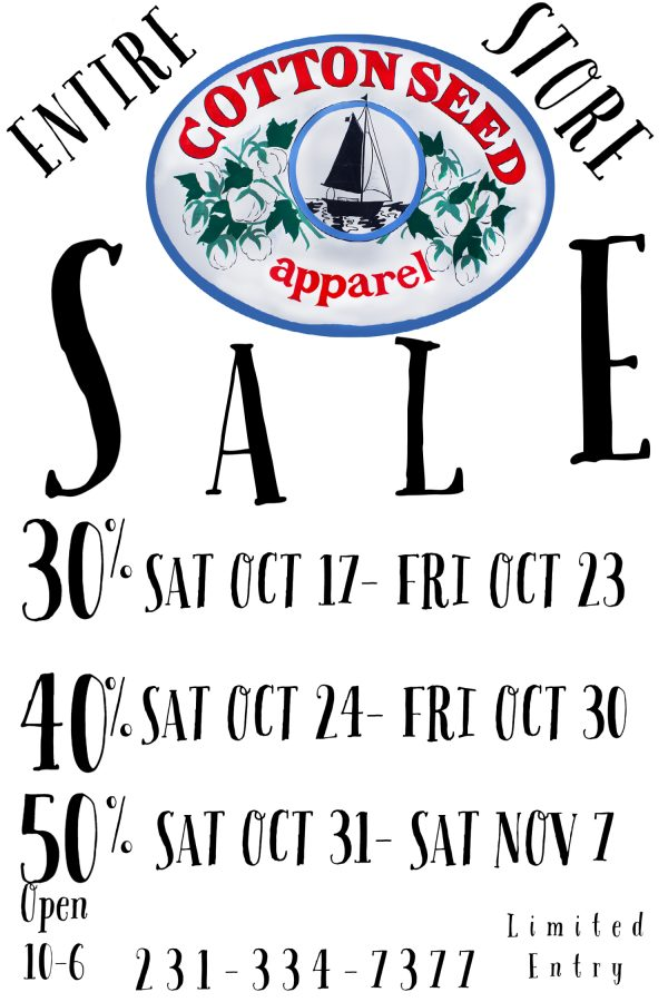 entire store sale at cottonseed apparel glen arbor flyer