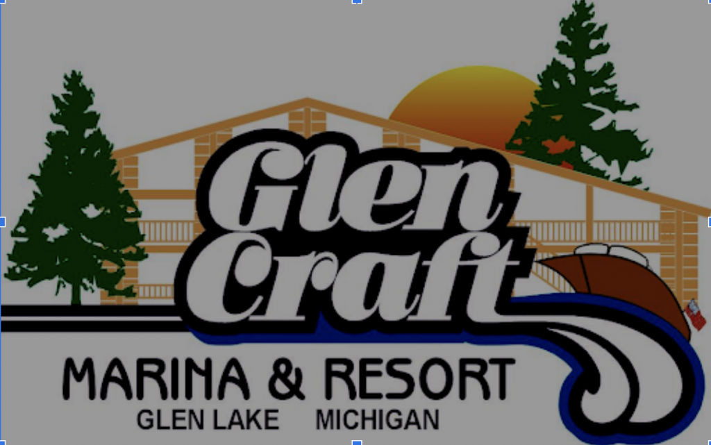 logo graphic for glen lake marina and resort