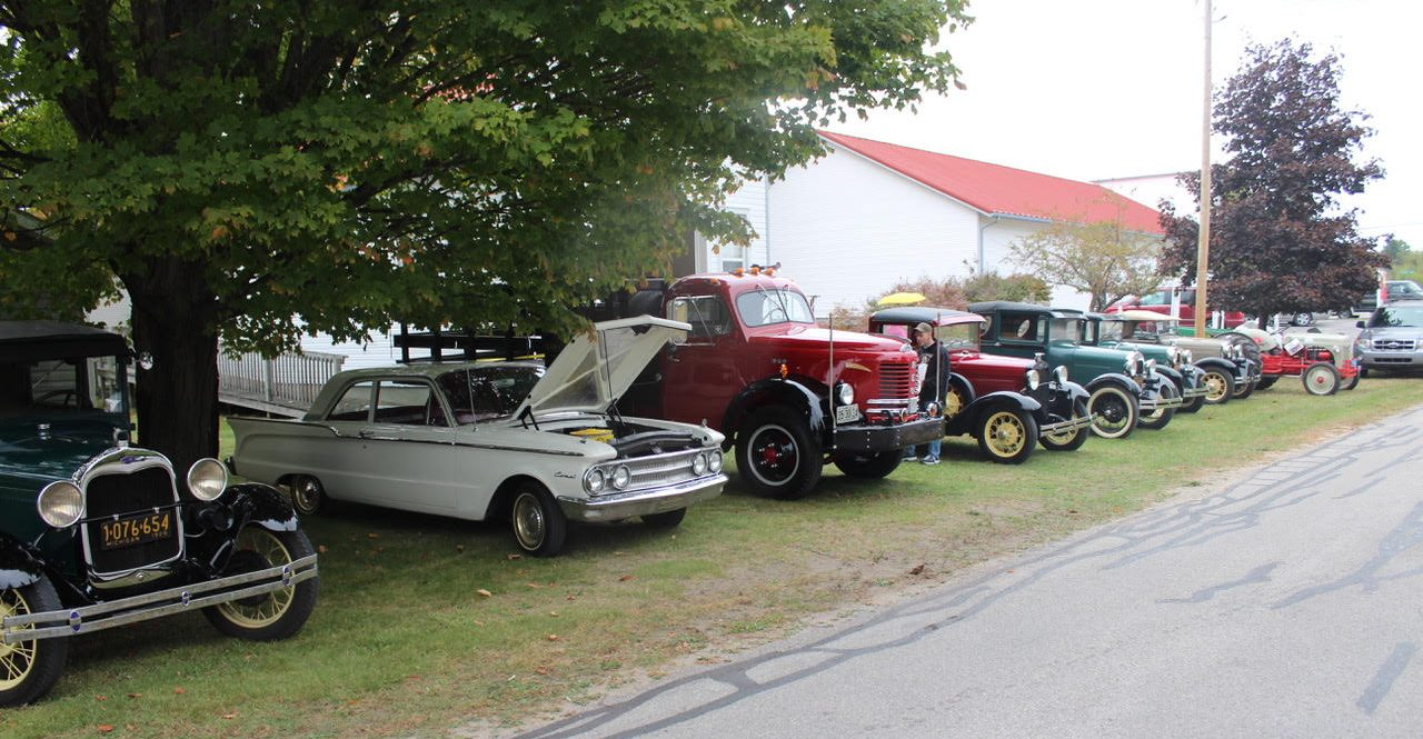 classic cars lined up for Heritage Day in Empire MI