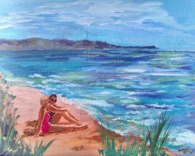 beach scene painting by Mary Guntzviller